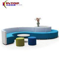 新设计异形羊绒布创意组合休闲沙发S弧形会客区商务洽谈软体沙发