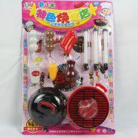 过家家玩具厨房特色烧烤店厨房过家家儿童卡通大号吸卡套装玩具