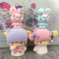 日本卡通摆件 植绒双子星桌面叠叠乐玩偶摆饰 毛茸茸公仔4款盒装