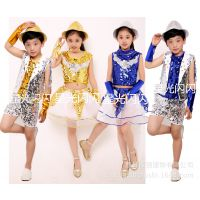 新款儿童演出服套装女童亮片表演服男童装儿童爵士舞演出服亮片
