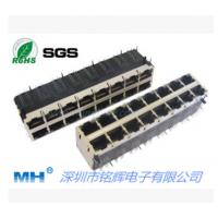2*8双层16口RJ45带隔离变压器插座 RJ45连接器带LED百兆\千兆母座