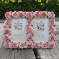 5吋粉色玫瑰花田园风树脂相框新款欧式像框像架创意相框厂价批发
