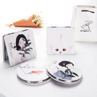 0727皮面镜韩国创意女士随身化妆梳妆镜迷你便携折叠镜子双面镜