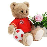 深圳厂家定制运动会吉祥物 穿衣足球泰迪小熊毛绒公仔 来图打样