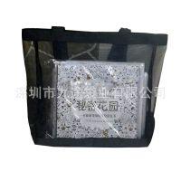 厂家定制尼龙网纱手提购物袋时尚透明网纱手提袋透气沙滩包加logo