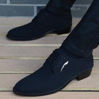 一件代发尖头皮鞋男韩版英伦布面男鞋内增高商务休闲鞋时尚潮流发