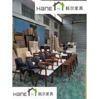 上海现代韩尔品牌 南京NJ-19咖啡厅实木桌子椅子生产订做厂家