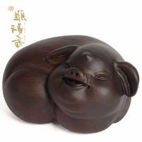 摆件红木雕刻工艺品摆件 黑檀木招财福猪大号 实木质生肖猪文玩开