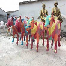 阳江玻璃钢动物雕塑生产厂家、园林公园抽象动物牛雕塑摆件