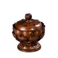 带底莲花香炉纯铜熏炉香道线香熏香盘香炉美式风格铜条