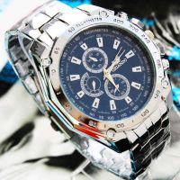 爆款手表批发三眼六针钢带手表男时尚男士手表石英表钢带男士腕表