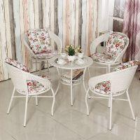 钢化玻璃藤椅三件套茶几时尚圆桌办公椅宾馆加粗客厅藤编小桌子藤