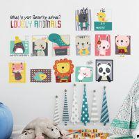 卡通动物头像照片墙卧室房宝宝儿童墙贴纸幼儿园墙面装饰品贴画