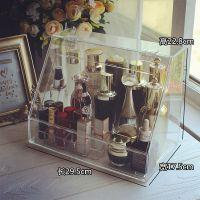 超大号翻盖化妆品香水收纳盒透明亚克力护肤品带盖防尘梳妆台桌面