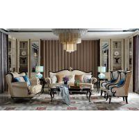 VA08-02法式轻奢风格新古典实木家具真皮沙发定制客厅1+2+3位组合沙发 别墅豪宅全屋定制家具厂