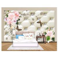 大型3d欧式高雅高档花开富贵软包背景墙壁纸客厅沙发墙布无缝壁画