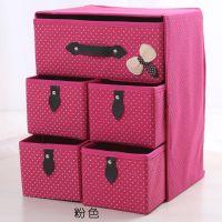 三层五抽屉式收纳盒内衣文胸袜子化妆品整理箱可折叠储物布艺柜子