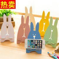 兔子手机支架 可爱卡通越狱兔木质手机支架手机架手机座 赠品礼品