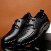 厂家直销男士系带真皮低帮男鞋黑色头层牛皮休闲男鞋一件代发