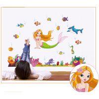 可移除墙贴批发创意卡通墙贴纸儿童房幼儿园贴纸画JM7292美人鱼