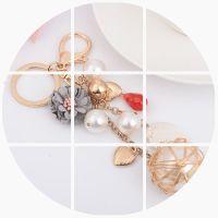 韩版爱心串珠球球钥匙扣女创意汽车钥匙圈链流苏包包挂件吊坠饰品