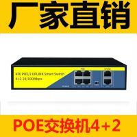 标准内置国标6口POE4+2交换机250米传输4路POE百兆交换机