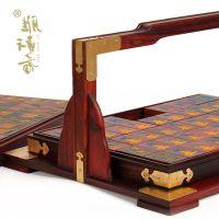 红木雕刻工艺品 红酸枝木麻将牌折叠收纳盒子 实木质家用商务礼品