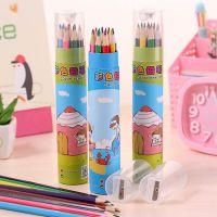 爱奇厂家批发可爱浮游女孩12色小铅笔绘画笔 涂色笔 彩色铅