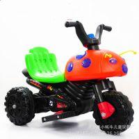 新款甲壳虫儿童电动摩托车 带音乐的儿童电动三轮摩托车 赠品