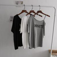 莫代尔性感字母印花t恤女 不规则单肩斜摆蝙蝠衫短袖 上衣 打底衫