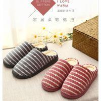 居家棉拖鞋2018新款室内条纹日式半包跟保暖月子鞋男女情侣毛毛鞋