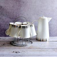 唐山达美瓷业批发陶瓷水杯套装 骨质瓷家用冷水壶 凉水杯定制logo