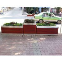 广州市品木家具供应HUX01物业小区物业实木花箱,园林街道防腐木花槽