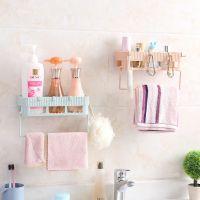 创意家居浴室置物架毛巾组合架 便捷多用卫浴整理收纳架挂钩批发