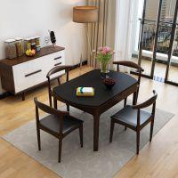 现代简约火烧石小户型伸缩北欧圆桌子家用方圆两用折叠餐桌椅组合