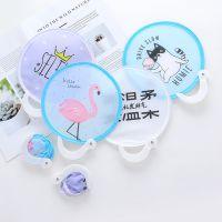 LiGo可爱圆扇迷你折叠团扇小扇子布面绢扇旅游日式和风折扇