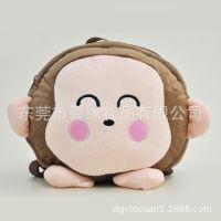 工厂生产卡通毛绒玩具猴子表情公仔书包 小学生背包
