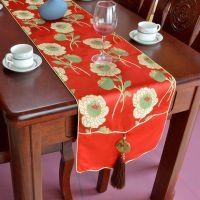 新中式奢华仿云锦岫玉玉佩如意头餐桌茶几桌旗