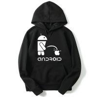 恶搞安卓机器人手机店工作服长袖套头印花连帽卫衣潮