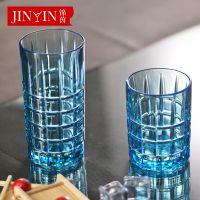 百丽儿 厂家直销方格浮雕玻璃饮品柠檬杯家用泡水 水杯一件代发