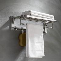 304不锈钢卫生间毛巾架浴室置物架卫浴五金挂件加厚2层折叠浴巾架