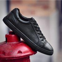 夏季韩版潮流透气潮鞋黑色板鞋真皮休闲鞋皮鞋小黑鞋英伦百搭男鞋