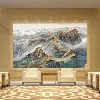 客厅瓷砖背景墙中式山水锦绣中华陶瓷壁画轻薄不褪色酒店会所批发