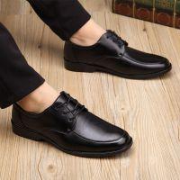 黑色工作男皮鞋伴郎鞋正装休闲皮鞋保安鞋爸爸鞋酒店肯德基面试鞋