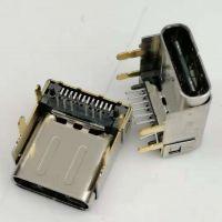 加高型TYPE-C 3.1母座 板上型/24P/垫高3.4/四脚插板/前插后贴/带柱/黑胶/带后盖