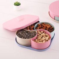 小麦秸秆果盘 创意零食瓜子干果盘带盖分格塑料糖果盘定制礼品