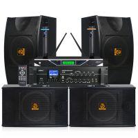 会议音响套装 狮乐AV106/BX103KTV音响10寸专业卡包箱功放话筒 木制音箱厂