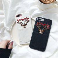圣诞刺绣麋鹿 口袋插卡苹果6s手机壳iPhone7plus/8/X创意蕾丝女款