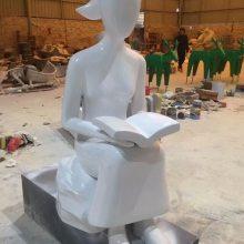 校园雕塑摆设扎马尾坐姿抽象看书女孩铸铜仿真男生女生阅读书本造型雕像玻璃钢老师学生翻阅课本模型铜塑像