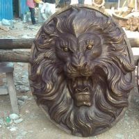 厂家直销狮子头雕塑树脂仿铜喷水动物头像狮头墙壁挂件玻璃钢摆件